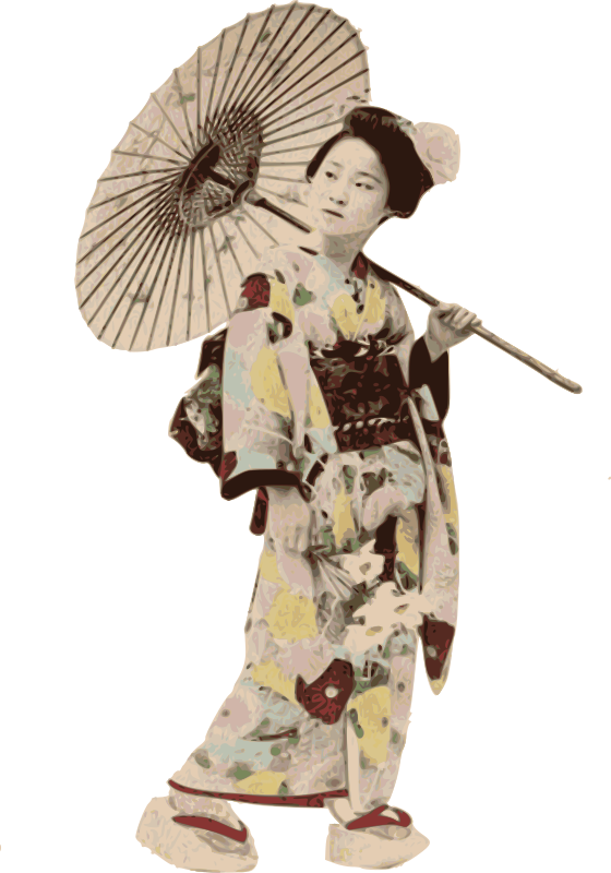Stereotypical Kimono Lady by j4p4n - When you think of the stereotype of a Japanese woman in a kimono, you are maybe imagining this lady from an old postcard. She's enjoying a walk, maybe in spring, with an umbrella over her shoulder. I wonder what she's thinking about?