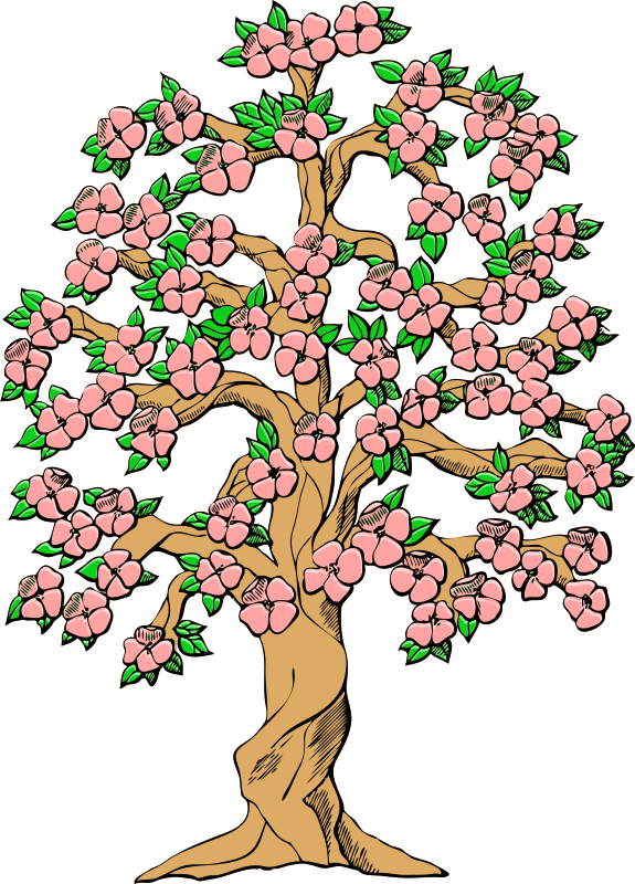 flowering tree color by Last-Dino - a flowering tree from a U.S. patent drawing colorized