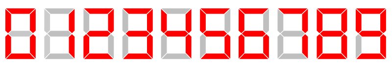 LCD 7-segment digits by .mau. - The digits from 0 to 9 on a 7-digits display
