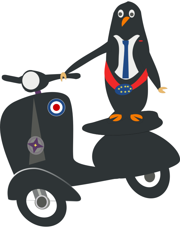 Darling on scooter by chatard - A penguin on a darling scooter