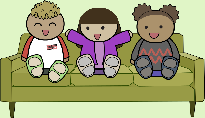 Kids on a sofa by anarres - 3 cartoon kids having fun sitting on a sofa - the sofa is 'Green sofa' by Rfc1394, http://openclipart.org/detail/29098/green-sofa-by-rfc1394-29098