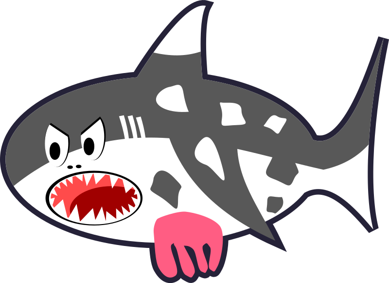 Black, White & Red Cartoon Shark Cow by qubodup