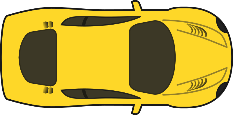 Yellow Racing Car (Top View) by qubodup - A colored version of sheikh_tuhin's excellent racing car without shading.