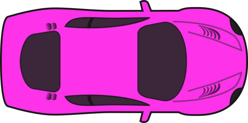 Pink Racing Car (Top View) by qubodup - A colored version of sheikh_tuhin's excellent racing car without shading.