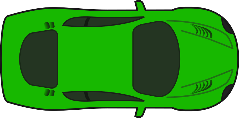 Green Racing Car (Top View) by qubodup - A colored version of sheikh_tuhin's excellent racing car without shading.