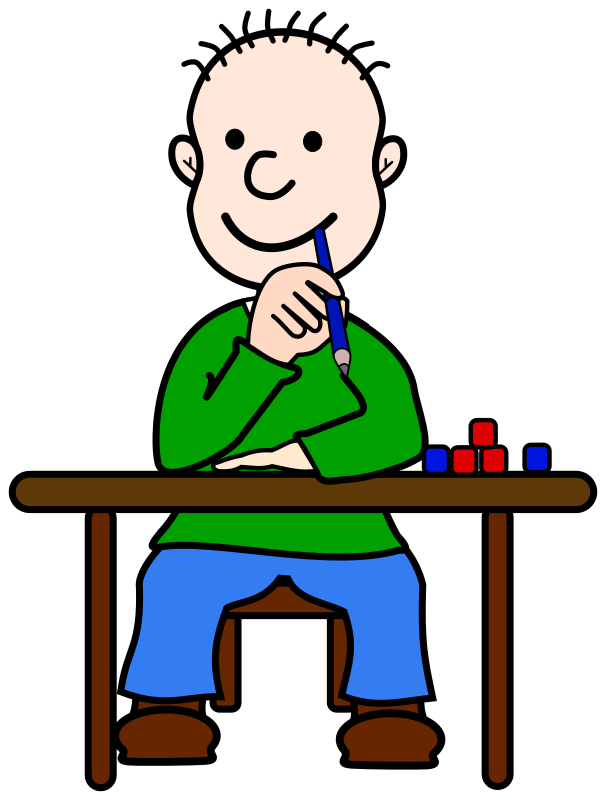 Comic Boy Oli at School by frankes - Boy sitting at a school table and thinking.