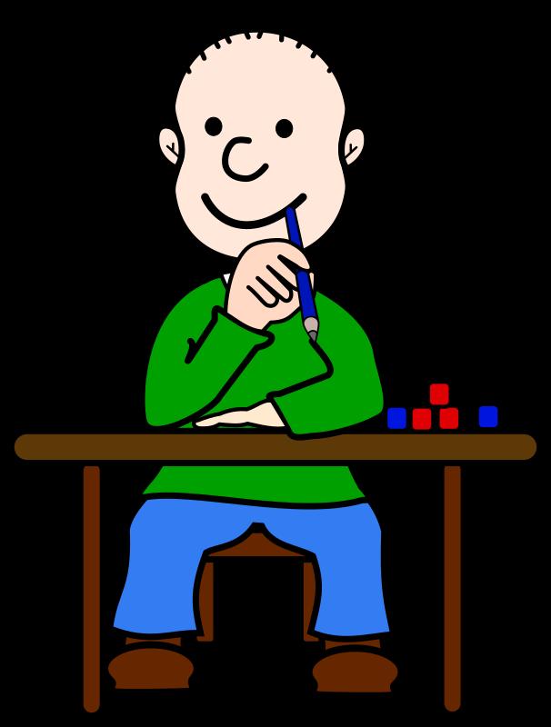 Clipart - Comic Boy Oli at School