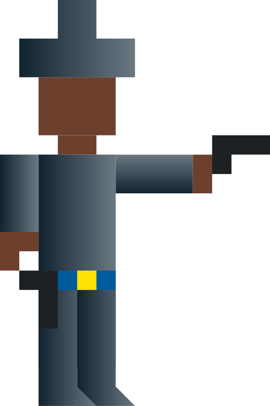 Cowboy Shooting Gun (Abstract Vector Pixel Art) by qubodup - Game sprite made for http://g.qubodup.net/supersunshowdown