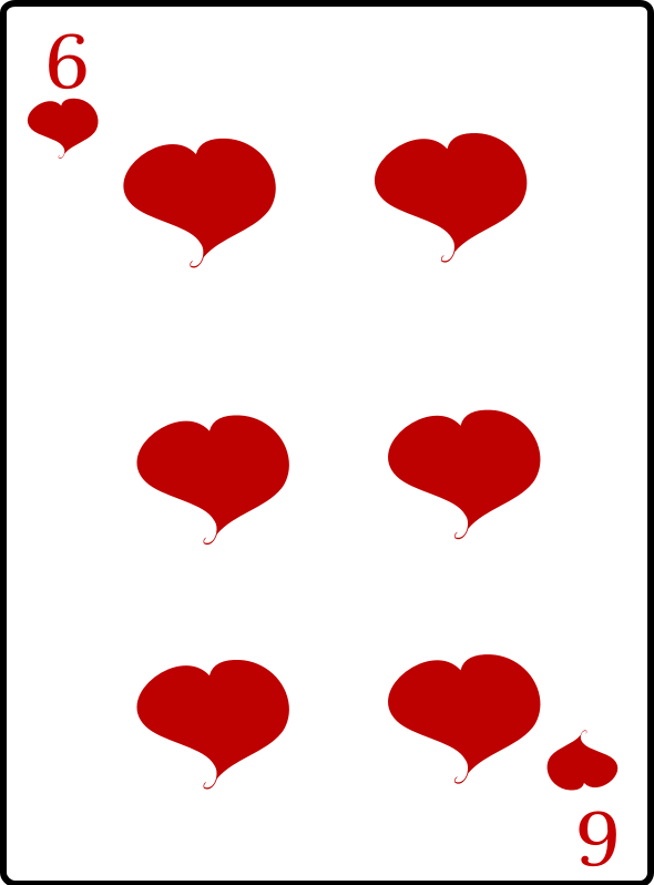 6 of Hearts by casino - 7 of hearts playing card