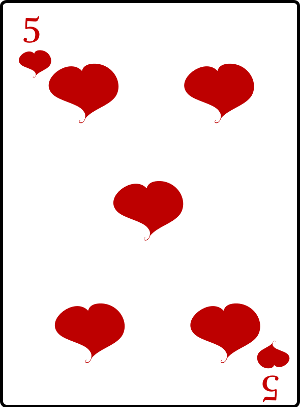 5 of Hearts by casino - 5 of hearts playing card