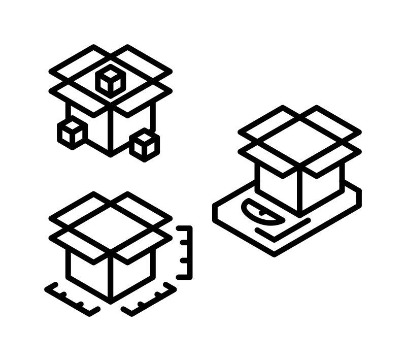 Packaging icons by nanozero87 - box, size,packaging, icon, b/w
