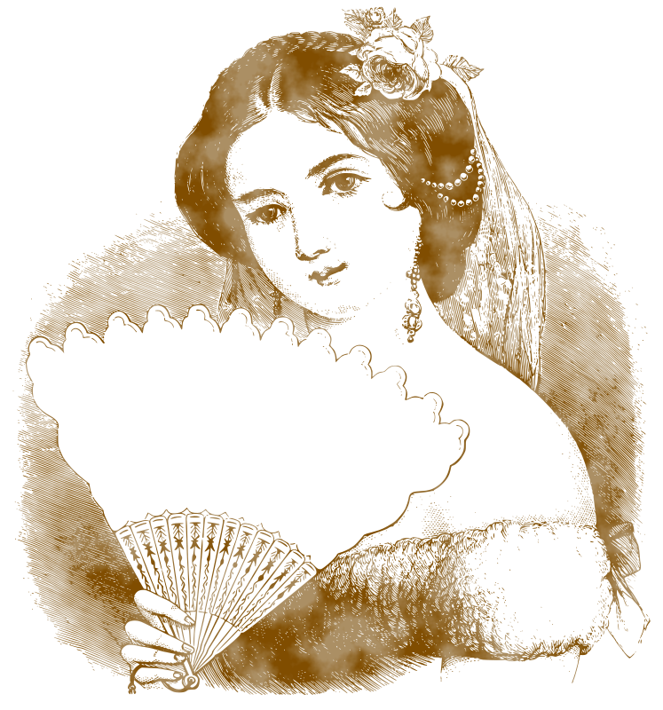 Vintage Lady Portrait by gustavorezende - Traced and filtered from http://thegraphicsfairy.com/free-vintage-label-images-stunning-lady-fan/