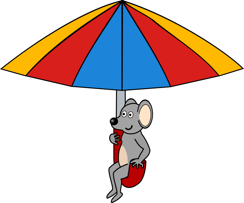 Mouse on umbrella by frankes - Mouse flying with umbrella.