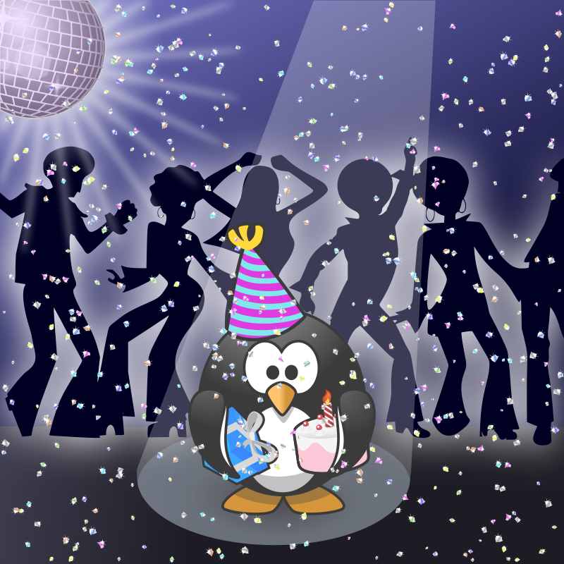 Clipart - January calendar page: Let's dance!