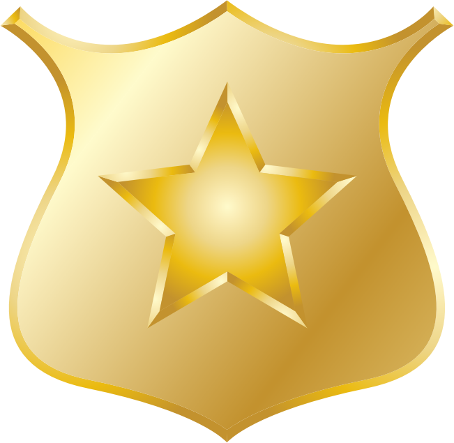 Gold police badge by jhnri4 - A gold police badge with a gold star.