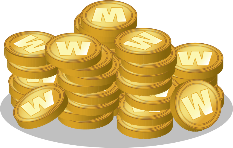Coin hoard by ckhoo - A hoard of gold coins/tokens with a 'W' logo