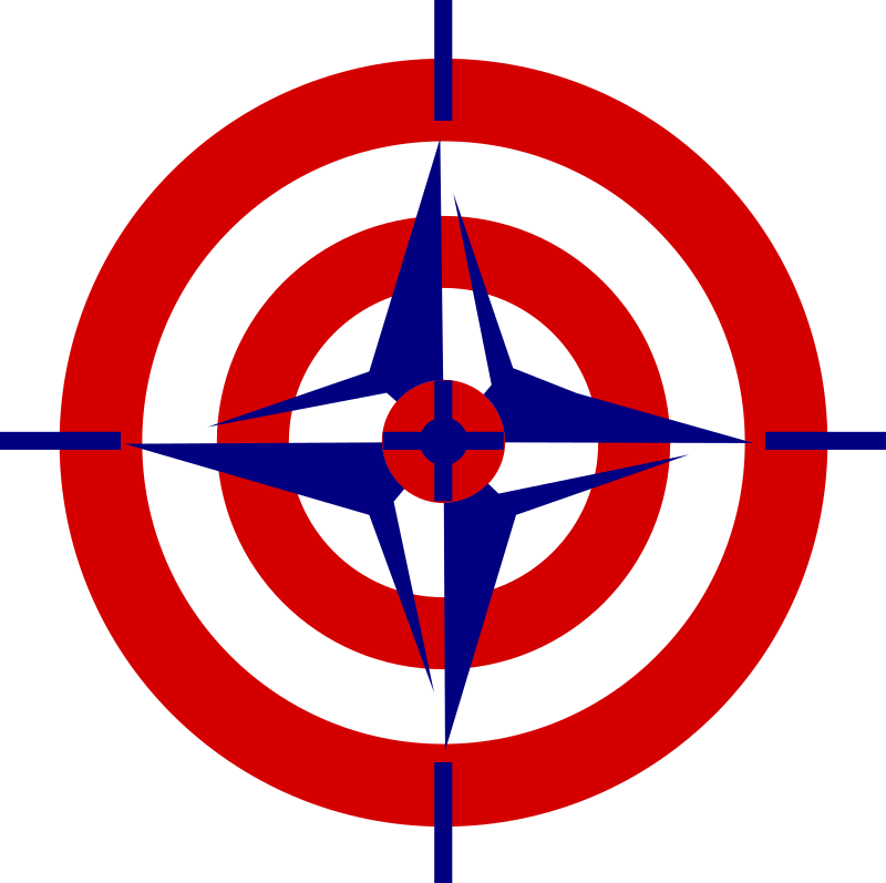 NATO killing organization by worker - A mesh up of the NATO logo and an archery face.