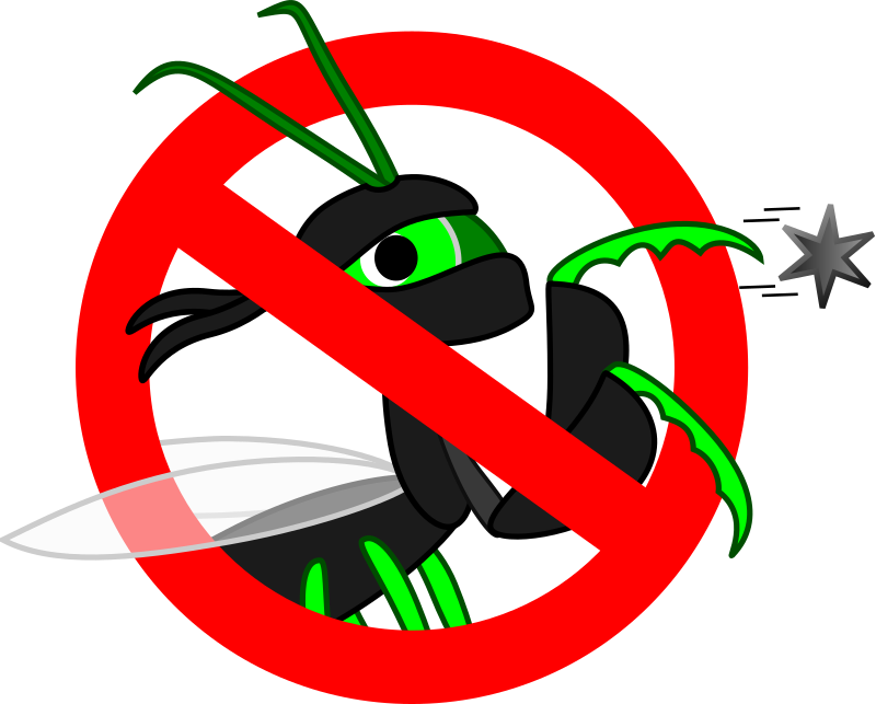 Forbidden for Heisenbugs by klaasvangend - This ninja mantis depicts a Heisenbug - a type of software bug that disappears as soon as you try to debug it.