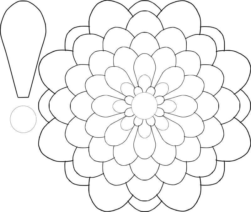 Flower Multi-Choice Template by BAJ - Flower template with multi-choice possibilities. Ten layers. Nine sizes. Eighty petals in all. Combine various layers to make various flowers and various sizes. One layer makes a daisy. Many layers make a carnation or mum. Cut and fold petals for different effects. Color flowers b