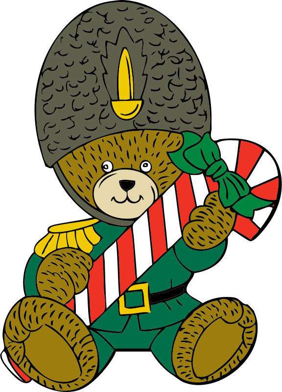 Christmas guard bear by johnny_automatic - a Christmas bear with a candy cane from a U.S. patent drawing