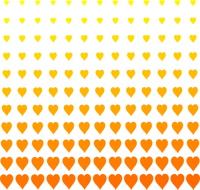 Lot of Love by navaneethks - Grid of heart symbols with increasing size, top to bottom