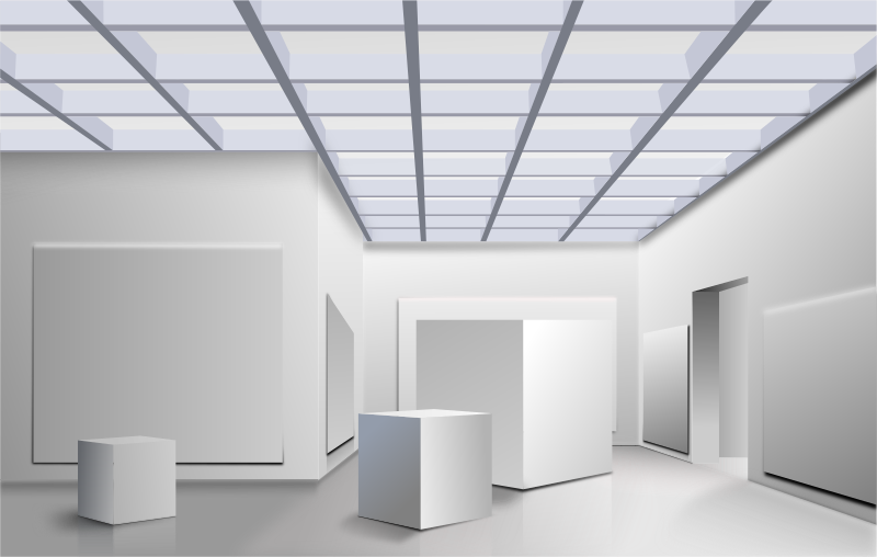 "Cubicos by roshellin - Cubes in a ""museum"" space showing perspective view."