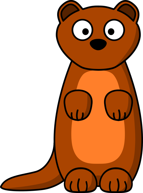 Cartoon Weasel by Schplook - Cartoon weasel (or ferret, or stoat) in the style on StudioFibonacci and lemmling. Remix (fix, really) of my previous version. This is the first picture I've ever made as an SVG file.