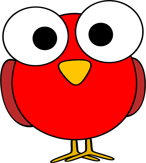 Red googley-eye bird by ruthirsty - A funny-looking red cartoon bird with big eyes.
