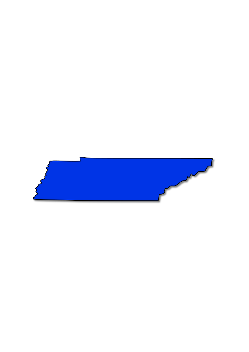 Tennessee by DonegalBay - This is an outline of the state of Tennessee filled blue with a shadow behind it.