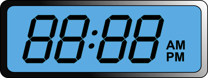 Digital LCD Clock by Schplook - Another remix of the Digital Clock by manio1. This clock is in the style of an LCD screen digital clock, and added AM and PM indicators. It has individually editable number sections so you can easily change the time to anything you like. Just download as SVG and edit in software like Ink Scape.