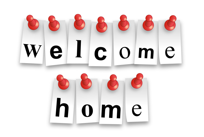 "Welcome Home Notes by bktheman - Little notes spelling out ""Welcome Home"" pinned with red pins to notice board. Letters are editable in the SVG"