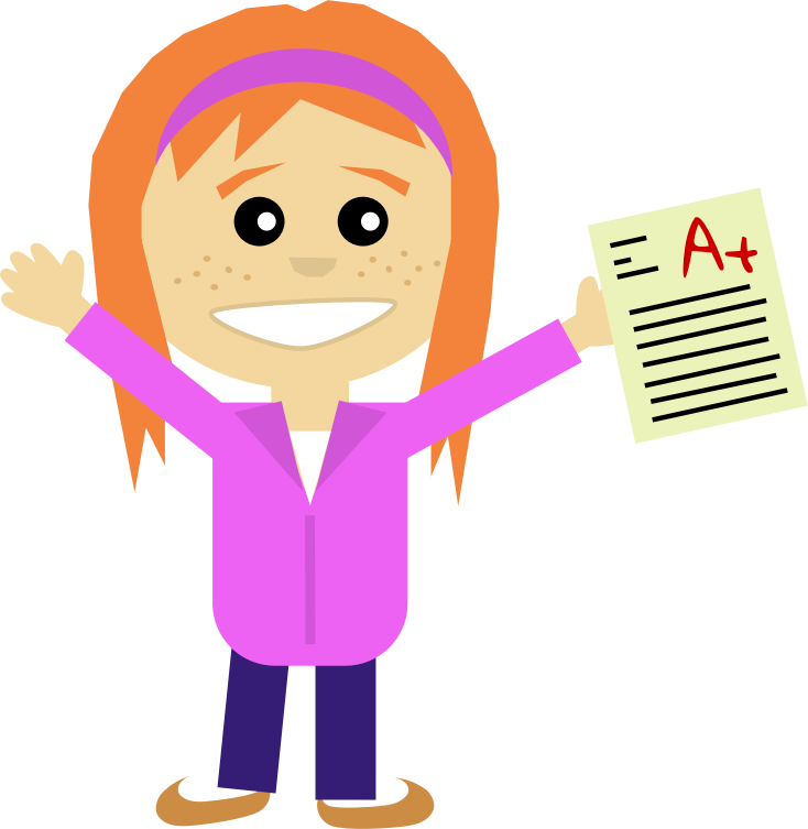 Happy Girl by Scout - Comic style girl with A+ certificate in few ... Happy High School Student Clipart