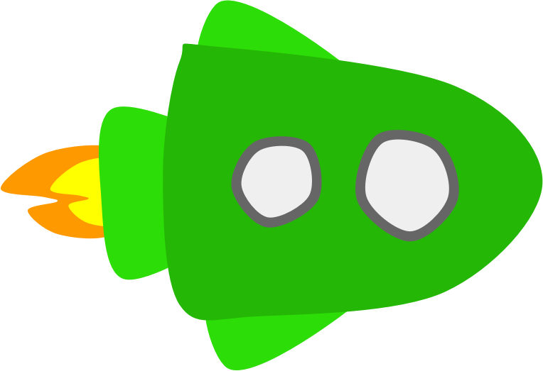 Green Spaceship by Scout - A simple drawing of a green spaceship.