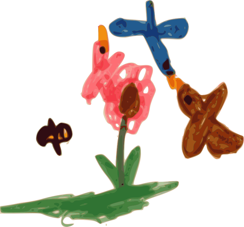 Kindergarten Art Birds, Bee, and Flower by BAJ - Kindergarten Art Birds, Bee, and Flower is a magic marker drawing by a preschool child, having fun in a church kindergarten. Art from a child\\\'s perspective.