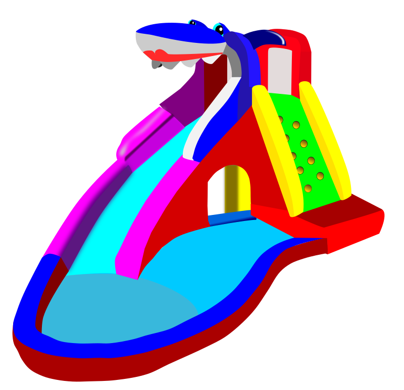 clipart bouncy castle water slide pool rh openclipart org Blow Up Water Slide Clip Art Blow Up Water Slide Clip Art