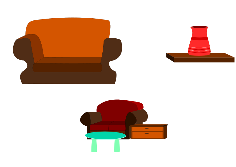 Sofas by alanspeak - Pieces of furniture I made for an ESL/EFL exercise.