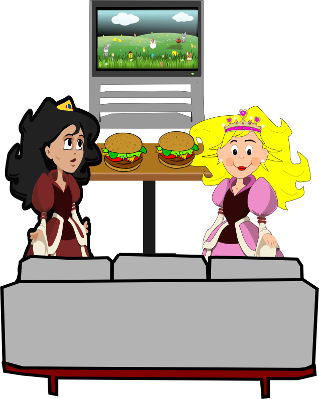 nature by evaline02 - Two princesses in fairy tale illustration style, looking to a movie and willing to eat hamburgs.