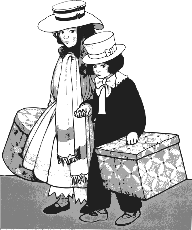 Brother and Sister - Traveling by j4p4n - This brother and sister, are traveling with two large boxes. They hold hands, tightly. I imagine they have something morbid in their boxes.