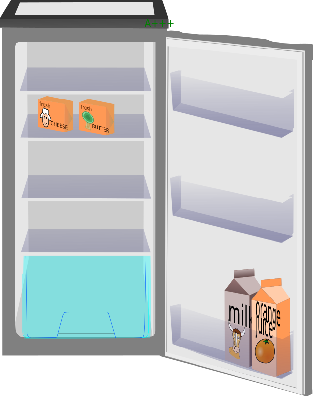 Full fridge by alanspeak - A fridge, milk/juice cartons, cheese and butter drawn by yours truly. You can fill it with lots of food from this website.Useful in education. Find the differences...