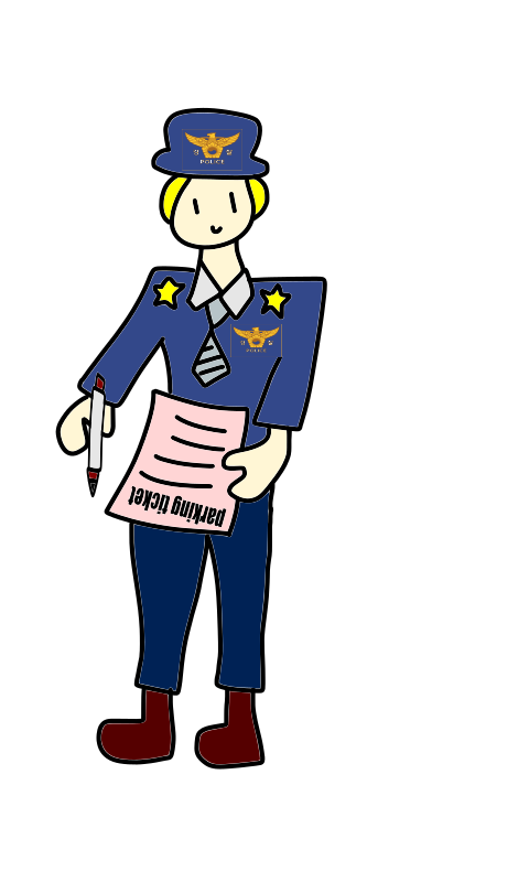 police officer with a parking ticket and a pen by loveandread - police, officer, parking ticket, pen, cartoon, man
