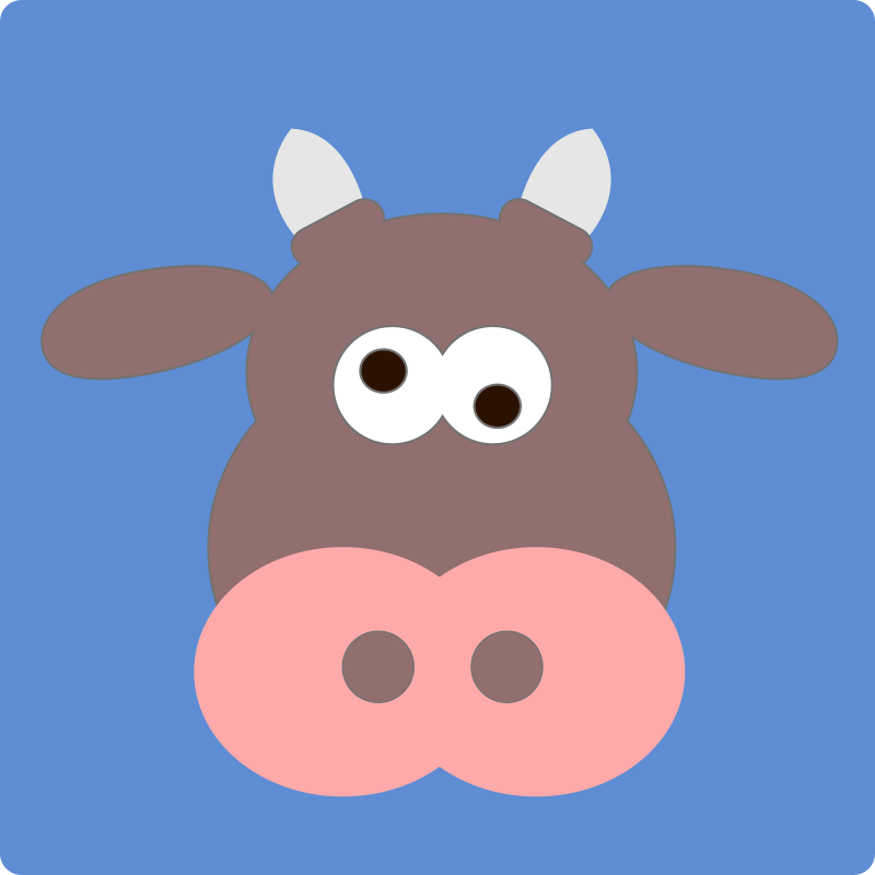 cow for Linus by dynnamitt - A brown cow-face on a blue square