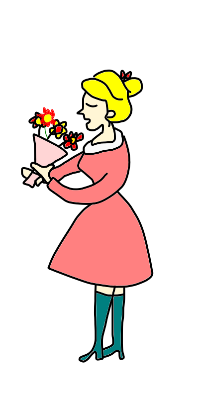 lady smells a bunch of flowers by loveandread - a bouquet of flowers, a bunch of flowers, smell, lady, hold, girl