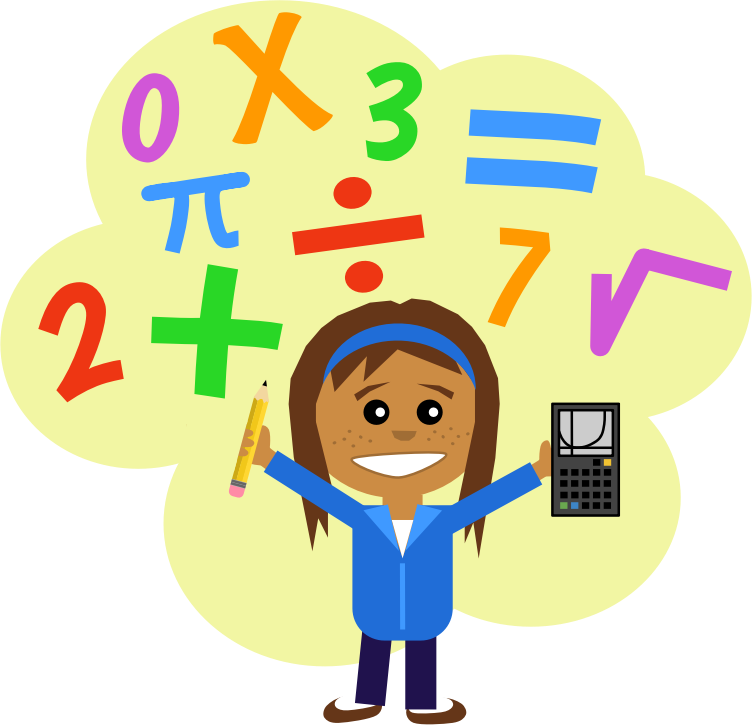 Math Girl  by Scout - girl with pencil and calculator in a cloud of math symbols, drawn in comic style
