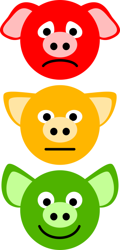 Pig Traffic Lights by Onsemeliot - Simple pig head icons: sad, serious and happy, colored like traffic lights.