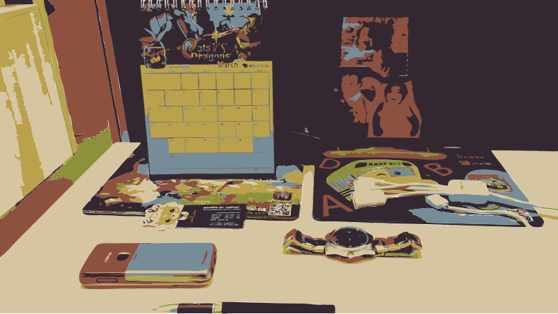 Desk area Scene by amadeog - A desk with for example a phone, a calendar and a watch.