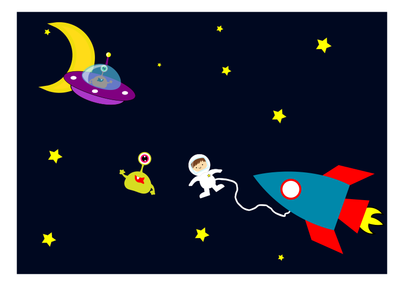 Clipart - Astronaut encounters Aliens in space