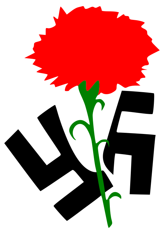 Carnation against Fascism by worker - The Carnation splitting the Fascism logo.