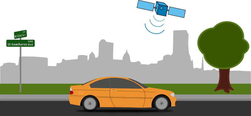 GPS for your car by tmjbeary - A car on a city street with a GPS satellite beaming data to the car's navigation system. 