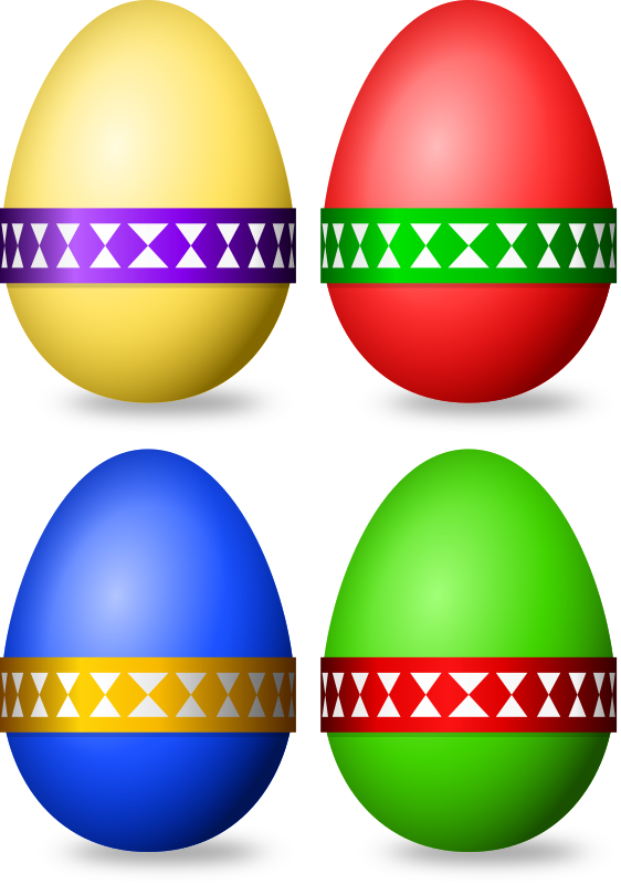 Decorated Eggs by Onsemeliot - Some simple coloured eggs with banderoles. Fitting for easter purposes.