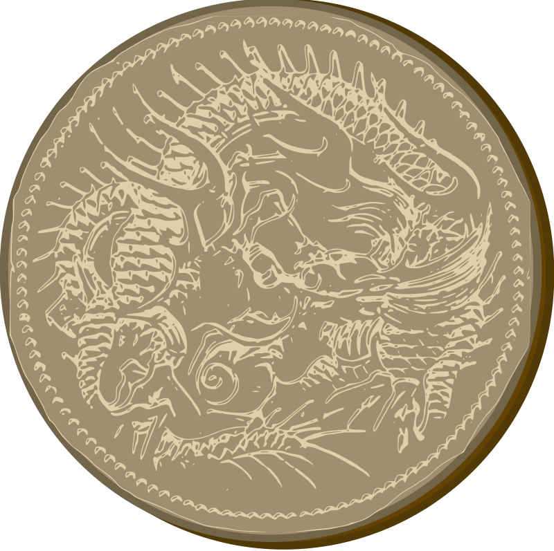 Old Dragon Coin by j4p4n - This design is based off a really old Japanese coin. I enjoyed the dragon so I thought I would turn it into a generic coin of sorts. Enjoy.